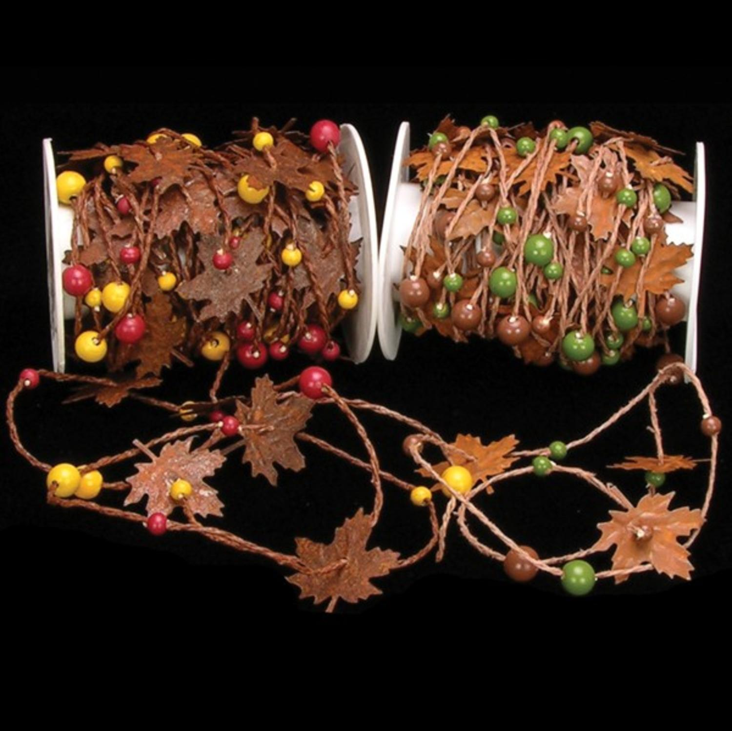 Brown Maple Leaf and Green Bead Craft Garland 2mmx 22 Yards