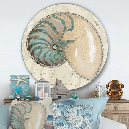 DESIGN ART Designart 'Seastar and Blue Sea Shell I' Nautical & Coastal Metal Circle Wall Art ()