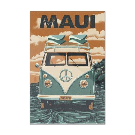 Maui, Hawaii - VW Van - Letterpress - Lantern Press Artwork (16x24 Acrylic  Wall Art Gallery Quality)