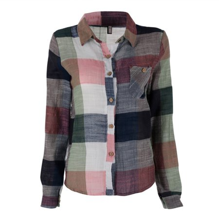 EFINNY Women's Colorful Plaid Checks Long Sleeve Button Down (Sleeved Check)