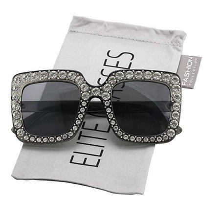 b9141acdb653 Elite Glasses - Elite Oversized Square Frame Bling Rhinestone Crystal Brand  Designer Sunglasses For Women 2018 - Walmart.com