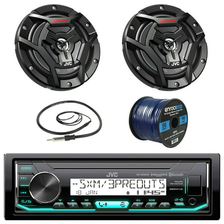 JVC KDX35MBS Marine Boat Yacht Radio Stereo Receiver Bundle with Coaxial Speakers, Enrock Radio Antenna and Enrock 16 Gauge 50-Foot Speaker Wire 12 Gauge Aerial Handheld