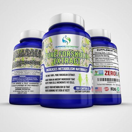 100% Pure Forskolin Extract by Supreme Potential-A Vita Slim Foria Natural Weight Loss Supplement, 450mg - 180 Capsules - 6 Months Supply - Diet Pills