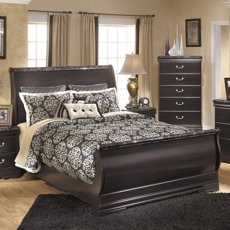 Ashley Esmarelda Wood Queen Sleigh Bed in Merlot by Ashley Furniture