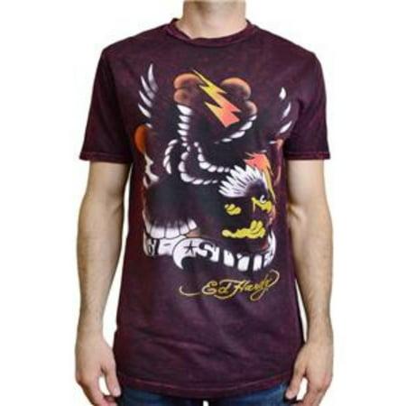 Ed Hardy Men's Eagle Lightning Graphic Crew Neck T-Shirt Burgundy Mineral Size X-Large Ed Hardy Dragon T-shirt