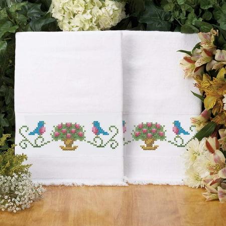 Herrschners® Bluebirds Terry Towel Pair Stamped Cross-Stitch ()