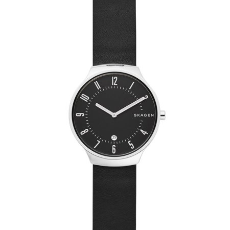 SKW6459 Men's Grenen Slim Black Dial Black Leather Band 3-Hand Date Watch