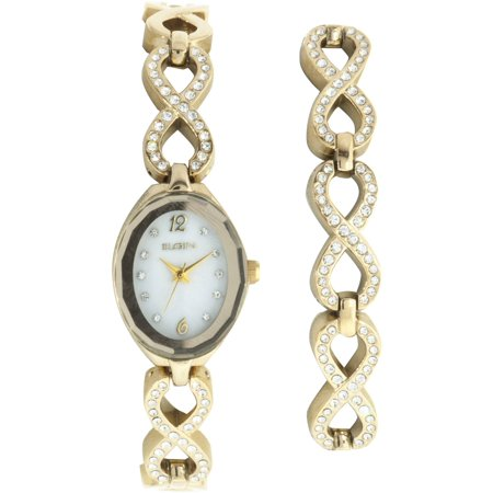 - Women's Oval White Dial Analog Watch and Bracelet Set, Gold and Crystal Infinity-Shaped Bracelet
