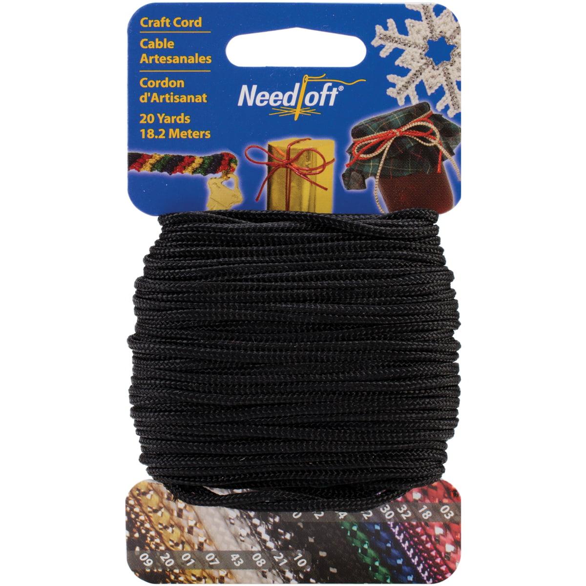 Needloft Novelty Craft Cord, 20-Yard, Solid Black Multi-Colored