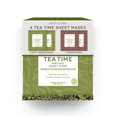 Earth to Skin Tea Time Anti Aging Sheet Masks, 4 Pack