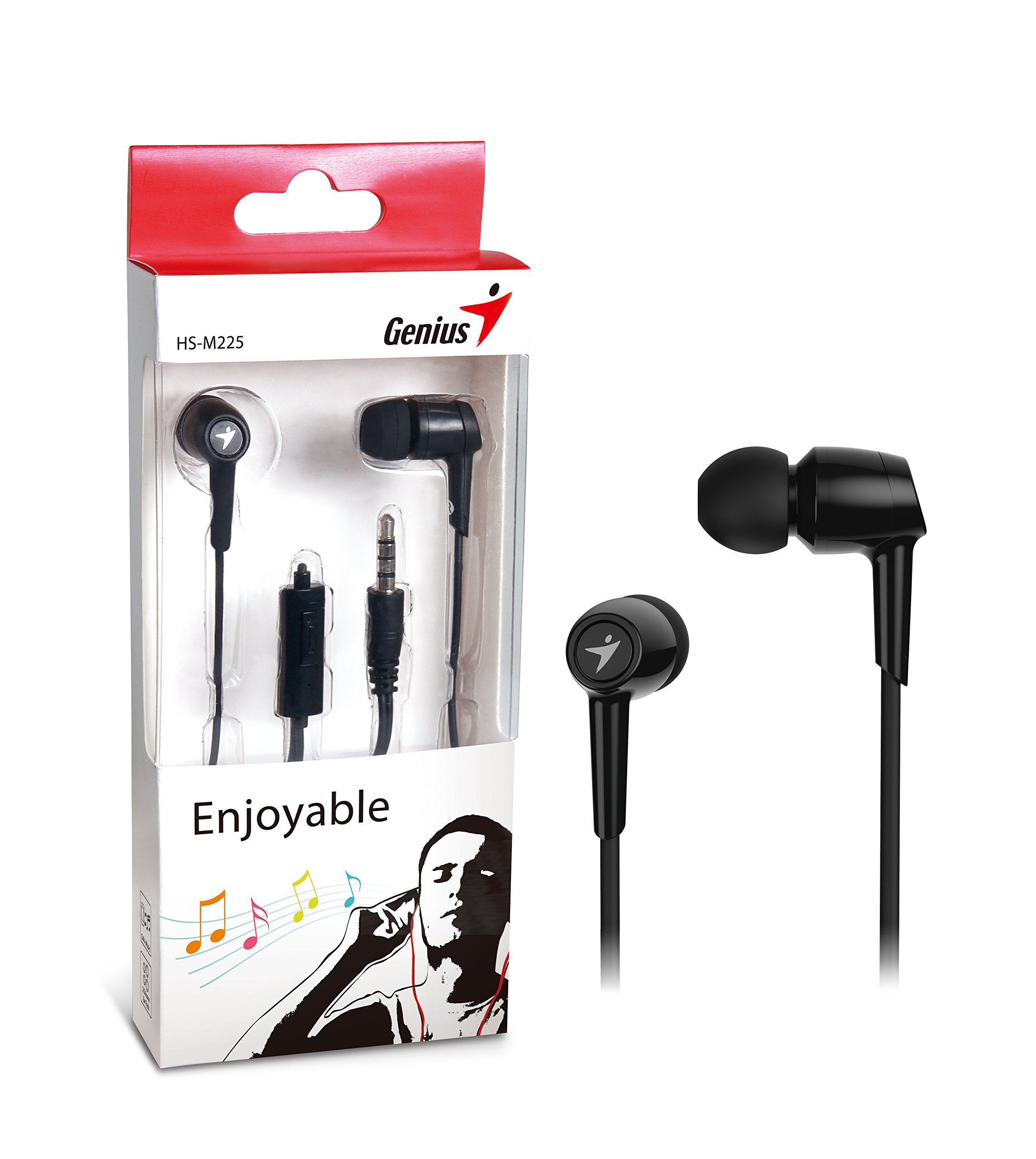 Genius Hs-m225 Earset - Stereo - Black - Mini-phone - Wired - 16 Ohm - 20 Hz - 15 Khz - Earbud - Binaural - In-ear - 3.94 Ft Cable (176251)