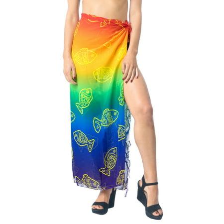 La Leela Gradient Sheer 2 Col Chiffon Swim Hawaiian Beach Sarong Cover ups