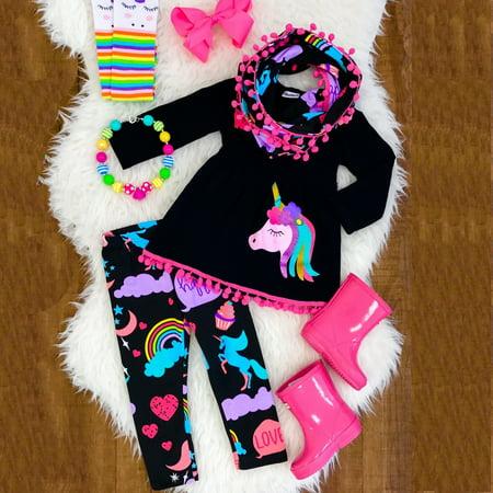 Unicorn Kids Baby Girls Outfits Clothes T-shirt Tops Dress+Long Pants 2PCS Sets