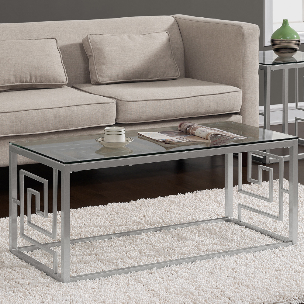 Dimensions Furniture Greek Key Silver Coffee Table With Glass Top