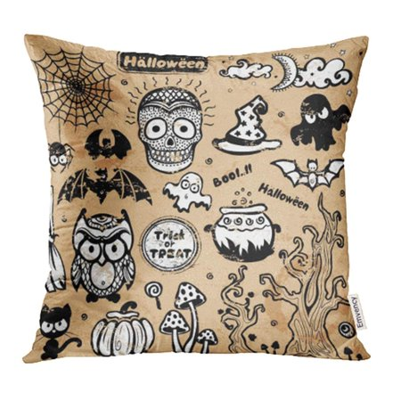 ARHOME Abstract Vintage Halloween of for Your Autumn Bat Black Boo Candle Candy Cat Pillow Case Pillow Cover 18x18 inch Throw Pillow - Halloween Names For Black Cats