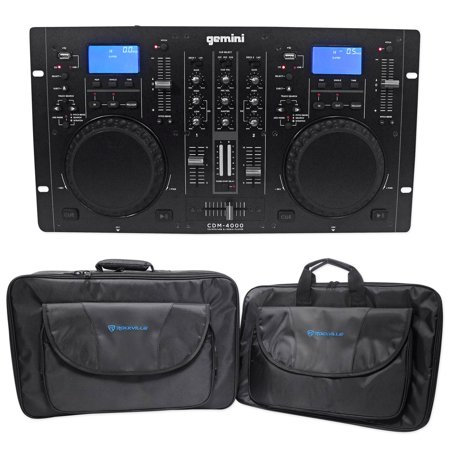 Club Mix Dj Mixer - Gemini CDM-4000 2 Ch. Dual DJ Mixer Media Player System+MP3/CD/USB+Carry Bag
