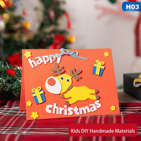 Fancyleo Beautiful Creative Kids Diy Merry Christmas Small Greeting Cards New Year Postcard Gift Card Gift For Kids ()
