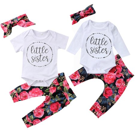 3Pcs Newborn Baby Girls Cotton Tops Romper Flower Pants Leggings Outfits - Flower Child Outfits