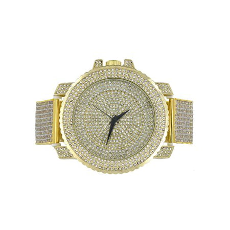 Fully Iced Out Simulated Diamond Techno Pave JoJo Gold Finish Mens Steel watch