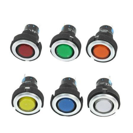 Unique Bargains 24V 22mm Dia Panel Mounting 6 Colors Signal Indicator Light Lamp 6 Pcs