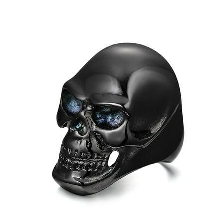 Black Ring For Mens Skull Stainless Steel Big Spike Jewelry Black Diamond Skull Ring