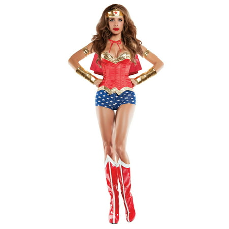 Women's Corseted Wonder Lady Costume - Costumes And Corsets