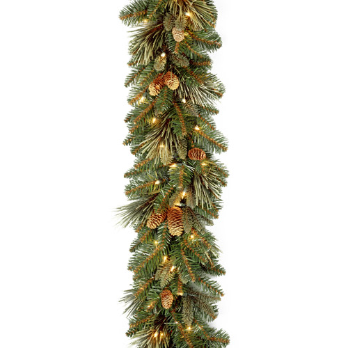 "National Tree 9' x 10"" Carolina Pine Garland with 27 Flocked Cones and 100 Clear Lights"