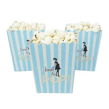 Soon To Pop Blue Baby Shower Popcorn Favor Box-Set of 20