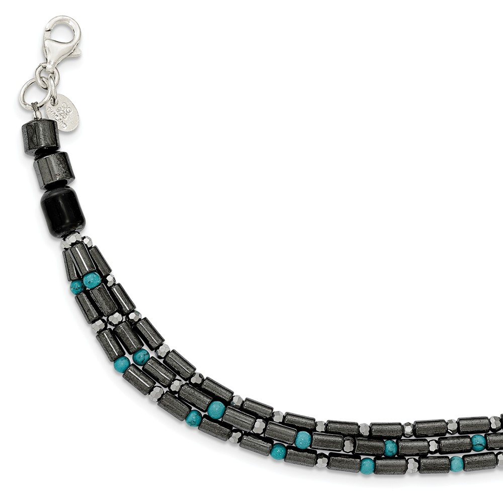 """925 Sterling Silver Simulated Agate, Crystal, Hematite and Simulated Turquoise with 1in Ext Bracelet -7"""" by"""