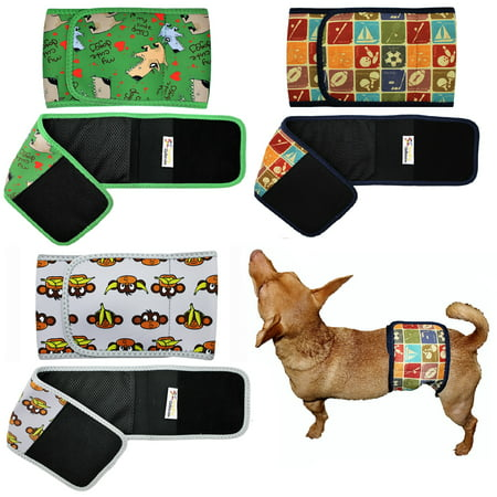 PACK of 3 Colors WASHABLE Dog Diaper for MALE Belly Band Wrap NEOPRENE Reusable sz XXS (waist 6