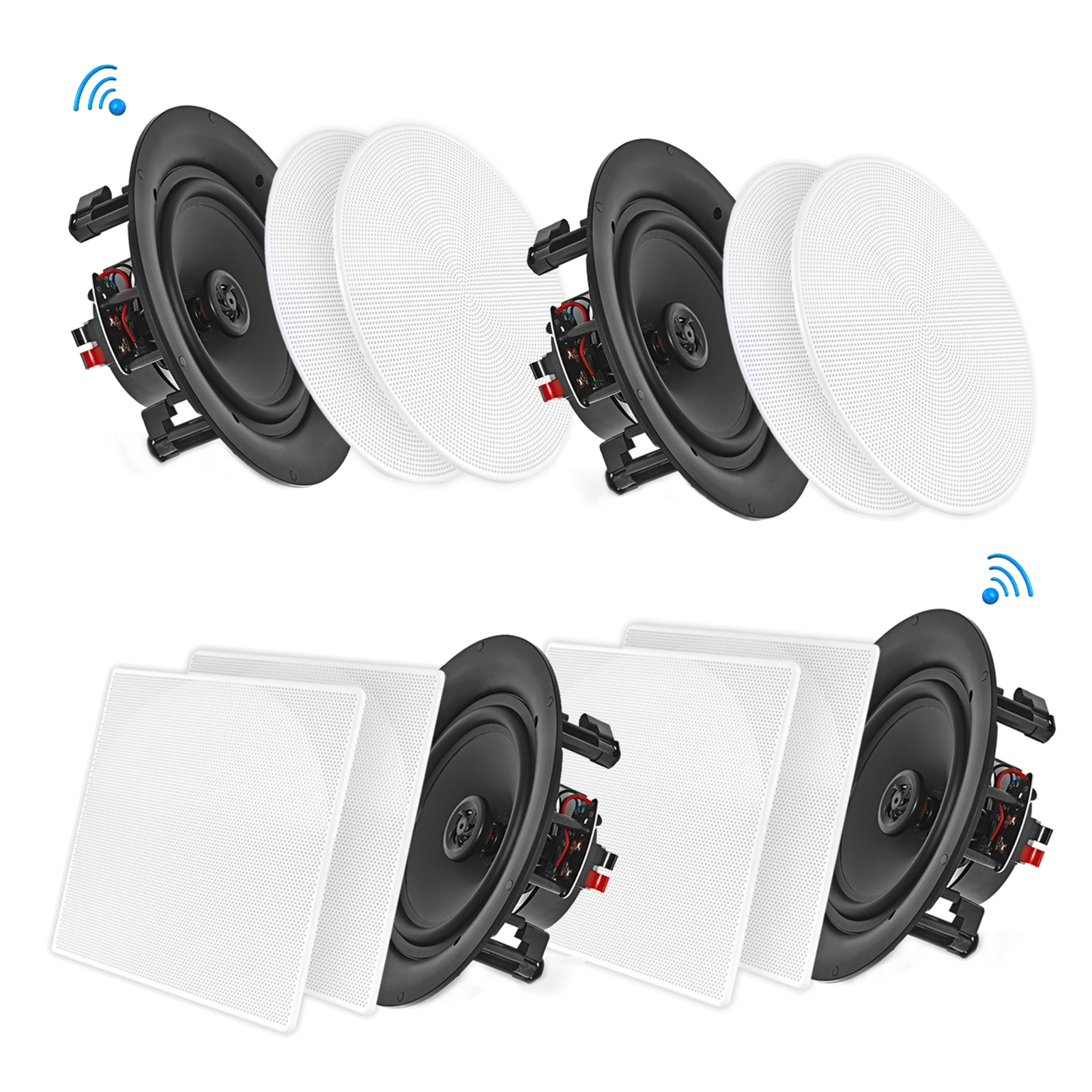 "6.5"" BT Ceiling / Wall Speaker Kit, (4) Flush Mount 2-Way Home Speakers, 200 Watt (4 Speakers)"