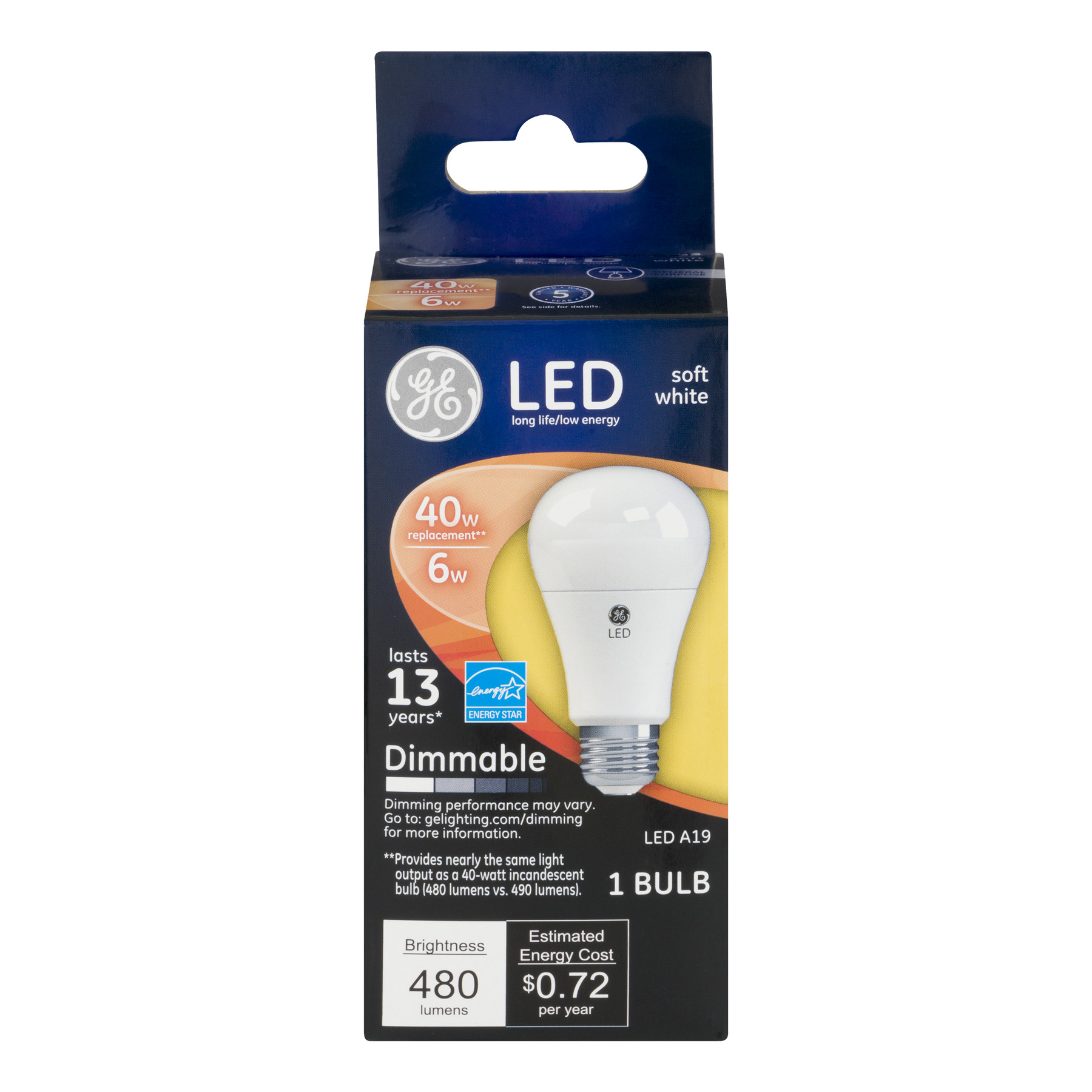 GE LED Soft White Dimmable Lightbulb 480 Lumens, 1.0 CT