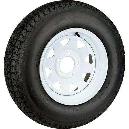 - Trailer Tire On White Rim ST205/75D15 Load Range C 5 Lug On 5.5 15 x 5 Wheel
