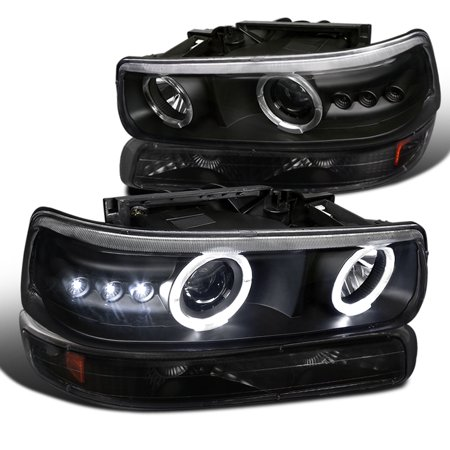 Spec-D Tuning 2000-2006 Chevy Chevrolet Tahoe Suburban Black 4Pcs Dual Halo Projector Led Headlights + Bumper Lights Lamps (Left + Right) 00 01 02 03 04 05 06