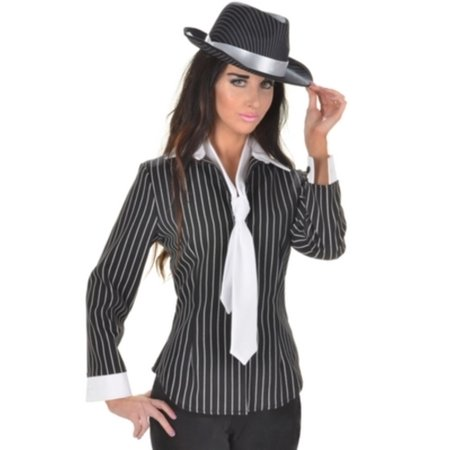 Gangster Fitted Shirt Underwraps Costumes 28313 - Black And White Gangster