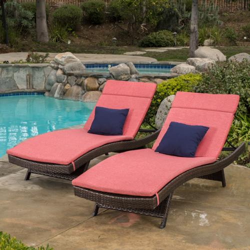 Simone Outdoor Brown Wicker Adjustable Chaise Lounge With Red Colored Cushions (Set Of 2)