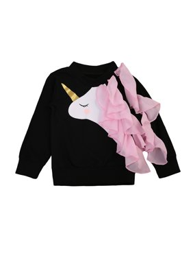 Cute Infant Baby Kid Girls Long Sleeve Unicorn Ruffle Sweatshirt Hoodie Top