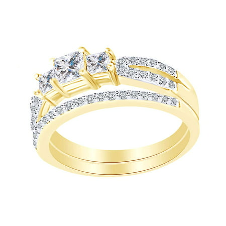 White Cubic Zirconia Three Stone Wedding Bridal Ring Set In 14k Yellow Gold Over Sterling Silver Ring Size-4 3 Stone Tension Set Ring