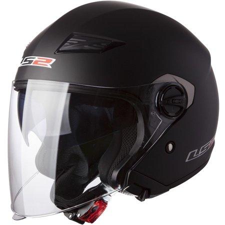 LS2 Helmets Track 569 Solid Open Face Motorcycle Helmet with Sunshield (Matt Black, Small)