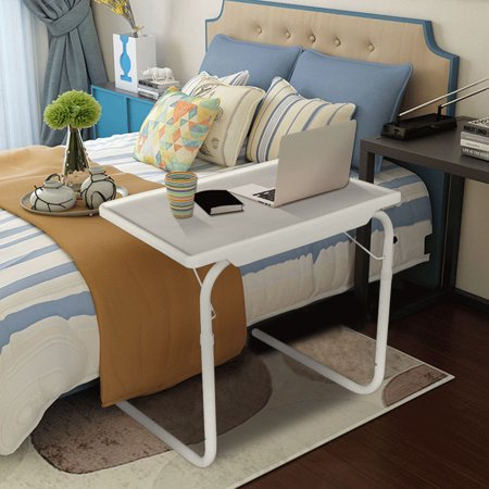 Practical Portable Home Use Comfortable Folding Table Assembled Bed Table White TV Tray Portable Folding Snack Table Adjustable Sofa Side