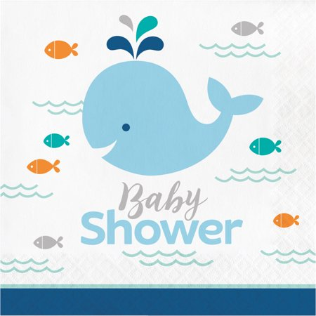 Baby Shower Plates Cups Napkins (Blue Baby Whale Baby Shower Napkins, 16)
