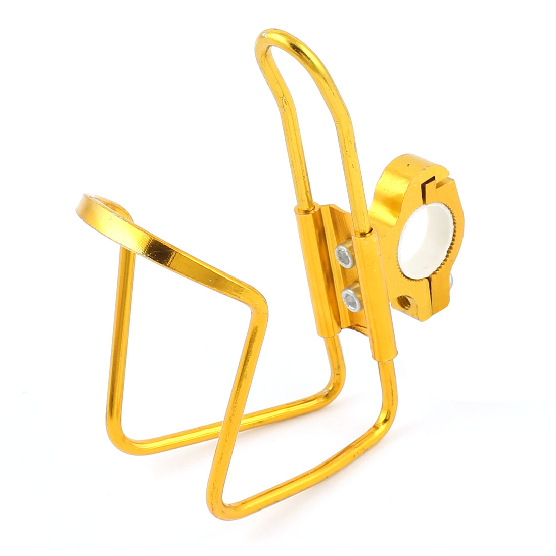 Bike Bicycle Metal Water Drinking Bottle Holder Cage Rack Gold Tone