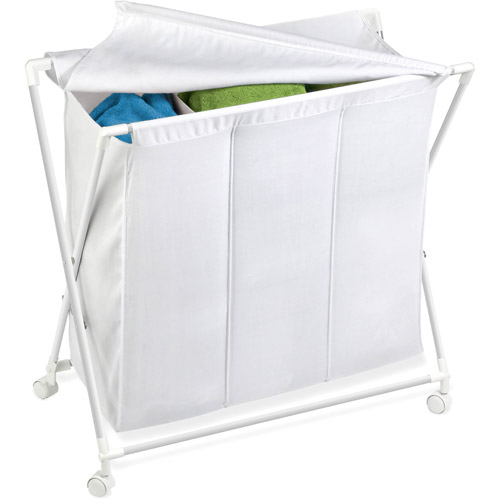 Honey Can Do Triple Hamper/Sorter on Rolling Casters, White