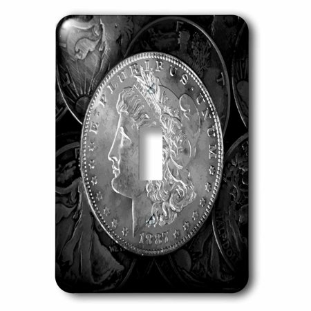 3dRose 1887 Liberty Silver Dollar - stylized photograph of vintage coins, Single Toggle Switch