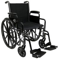 "Karman LT-700T Lightweight Wheelchair with Removable Armrest, 18"" Seat Silver Vein"