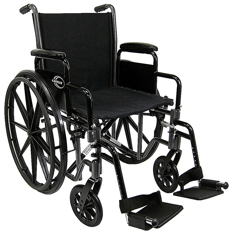 """Karman LT-700T Lightweight Wheelchair with Removable Armrest, 18"""" Seat Silver Vein"""