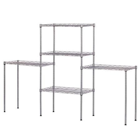 Floor Standing Vanity Unit - Heavy Duty Shelf Adjustable Shelves Unit Changeable Assembly Floor Standing Carbon Steel Storage Rack Silver