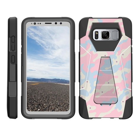 TurtleArmor ® | For Samsung Galaxy S8 Active G892 [Dynamic Shell] Dual Layer Hybrid Silicone Hard Shell Kickstand Case - Baby Blue Pink Camouflage ()