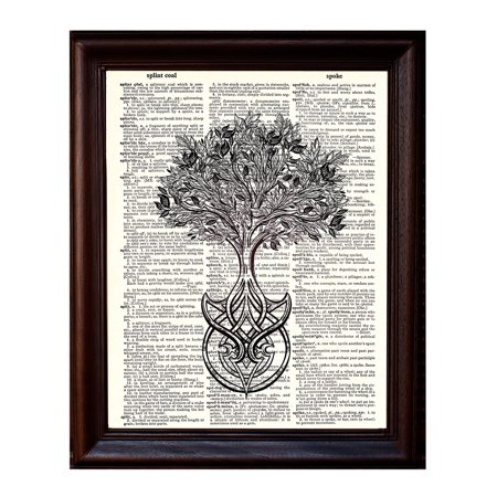 Celtic Tree of Life - Dictionary Art Print Printed On Authentic Vintage Dictionary Book Page - 8 x 10.5