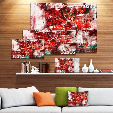 Red Flowers Texture Watercolor - Large Abstract Canvas Artwork - image 3 de 4